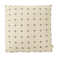 Cross stitch cotton chambray cushion
