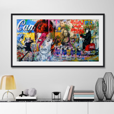Ziggy Stardust Grafitti Mural by Mr Brainwash Art Print