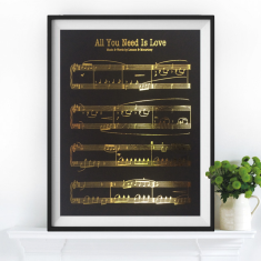Gold leaf Beatles all you need is love sheet music print