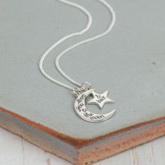 I Love You Moon and Star Charm Necklace