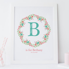 Personalised Floral Initial Nursery Birth Print