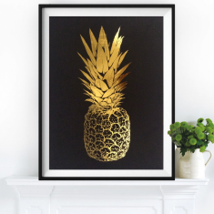 Gold leaf pineapple top print