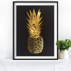Gold leaf pineapple top print