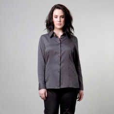 Plus size cotton striped shirt in black and silver