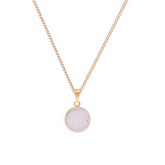 Small Light Grey Circle Drusy Pendant Necklace