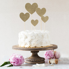 Fancy cake topper glitter hearts
