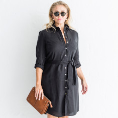 Lined Italian linen shirt dress in classic black