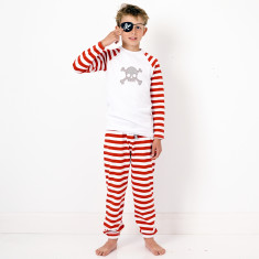 Red striped skull pyjamas