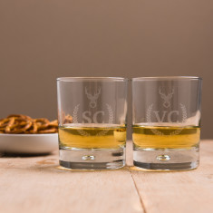 Personalised Set of 2 Stag Whisky Glasses