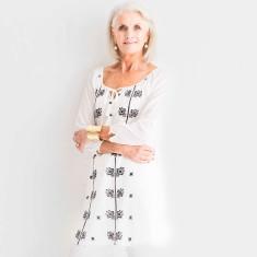 Kristi embroidered cotton dress in black