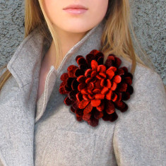 Large hand-felted dahlia brooch