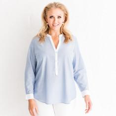 Classic blue mandarin collar shirt