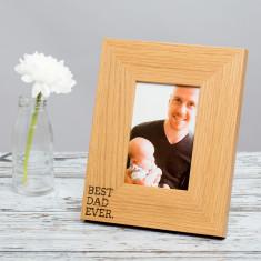 Best Dad Ever oak wooden photo frame