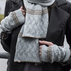 Alpaca cable knit fingerless mittens