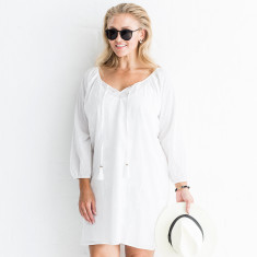 Kristi embroidered cotton dress in white
