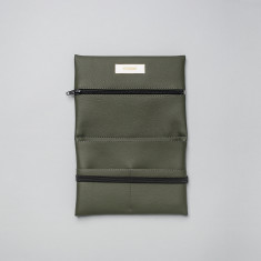 Vegan leather pouch in olive green