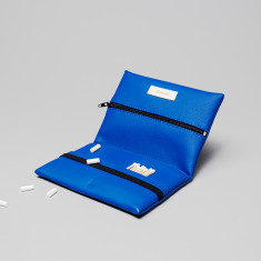 Vegan leather pouch in blue