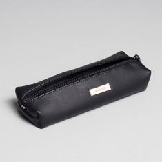 Vegan leather pencil case in black