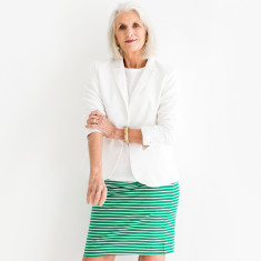 Green stripe cotton jersey skirt