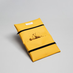 Vegan leather pouch in mustard yellow