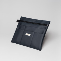 Vegan leather large pouch in dark blue