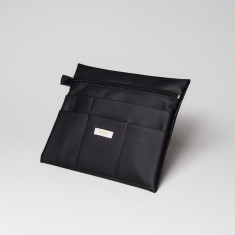Vegan leather large pouch in black
