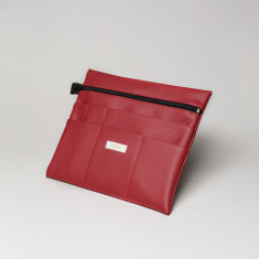 Vegan leather large pouch in cherry