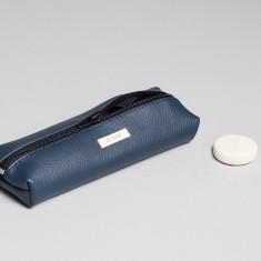 Vegan leather pencil case in dark blue