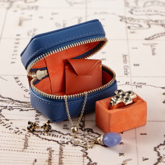 Soft Leather and Suede Trinket Box with Removable Ring Cushion