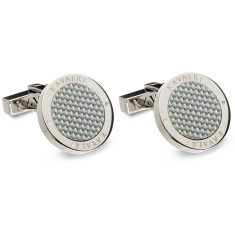 Carbon fibre cufflinks in silver