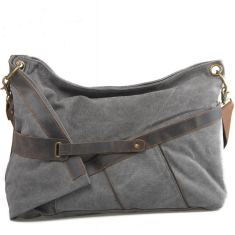 Canvas shoulder bag in grey