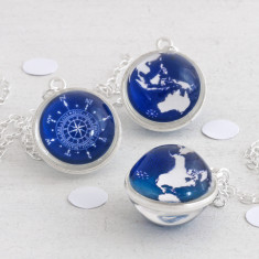 Globe and Compass Wanderlust Necklace