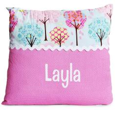 Personalised name cushion in Blue Trees