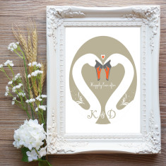 Personalised swans wedding or couple print