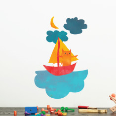 Cat Sailing wall sticker