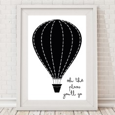 Oh the places hot air balloon monochrome print