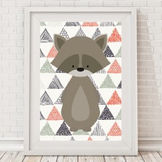 Woodland raccoon print