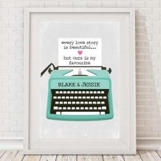 Personalised typewriter love print