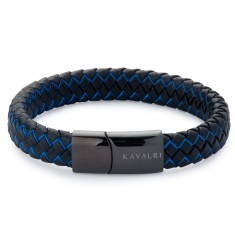 Black Leather and Blue Wire Bracelet - Black Clasp