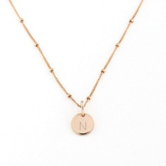 Personalised rose gold round alphabet charm necklace with chain