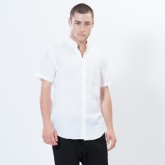 White Linen Short Sleeve Shirt