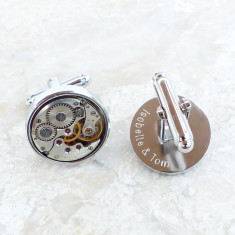 Personalised Vintage Round Watch Movement Cufflinks