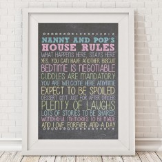 Personalised grandparents' house rules print