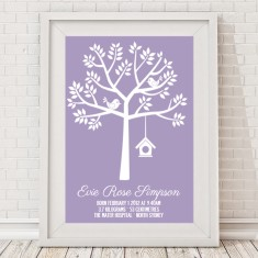 Personalised tree birth print for girls