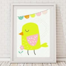 Pastel pretty bird print