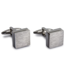 Brushed Slate Cufflinks - Silver