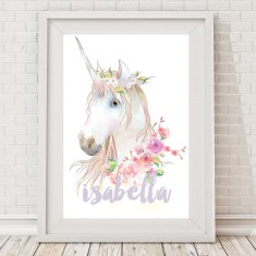 Watercolour unicorn name print