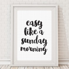 Easy like a Sunday morning monochrome grid print