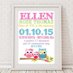 Girls' classic owl personalised baby birth print