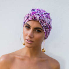 Dahlia turban-style shower cap in pink painterly floral